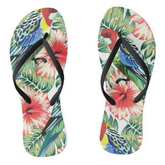 Chinelos Pássaros, flores e folhas de palmeira tropicais