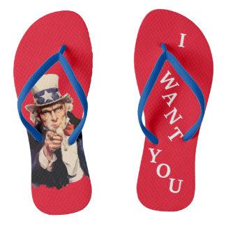 Chinelos patrióticos do tio Sam dos EUA