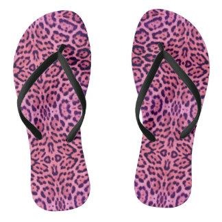 Chinelos Pele cor-de-rosa e roxa de Jaguar
