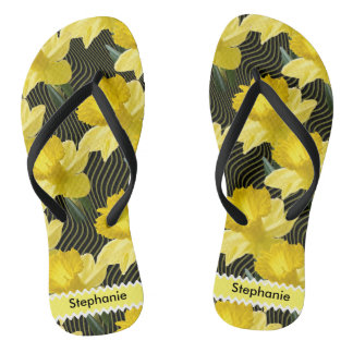 Chinelos Personalize: Daffodils florais do abstrato da