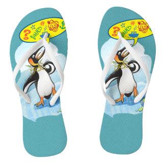 Chinelos Pinguim de rei desesperado que diz palavras más