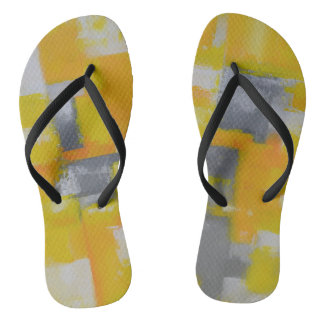 Chinelos pintura branca amarela cinzenta da arte abstracta