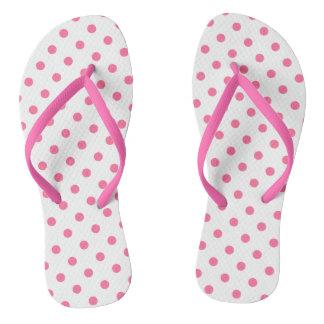 Chinelos Polkadots cor-de-rosa - correias magros dos