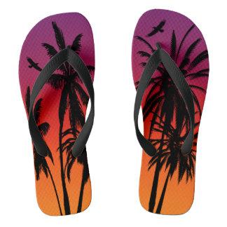 Chinelos Por do sol alaranjado roxo de Tahiti das palmeiras
