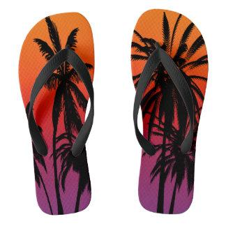 Chinelos Por do sol alaranjado roxo de Tahiti do