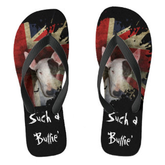 Chinelos pretos de bull terrier Union Jack
