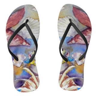 Chinelos Seashells dos flip-flops, arte da aguarela,