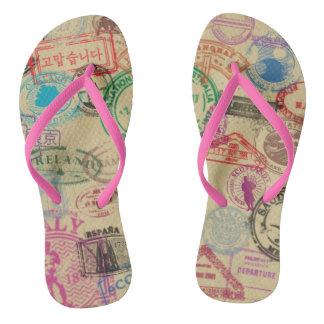 Chinelos Selos do passaporte do vintage