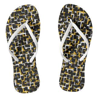 Chinelos Teste padrão amarelo branco preto de Digitas Camo