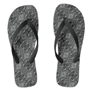 Chinelos Teste padrão cinzento branco preto à moda