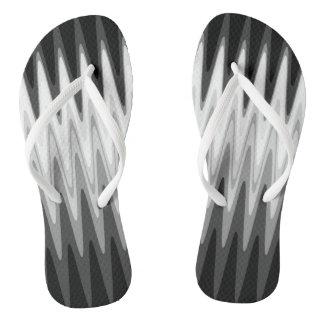 Chinelos Teste padrão cinzento branco preto do ziguezague