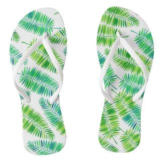 Chinelos Teste padrão das folhas de palmeira da aguarela