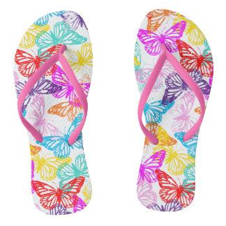 Chinelos Teste padrão de borboletas colorido