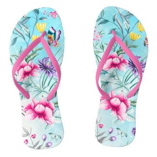 Chinelos Teste padrão floral do Chinoiserie