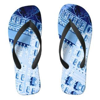 Chinelos Teste padrão moderno azul do cartão-matriz