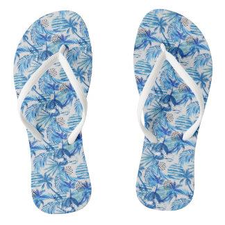 Chinelos Teste padrão tropical azul brilhante da aguarela