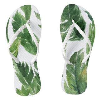 Chinelos Teste padrão tropical verde das folhas da aguarela