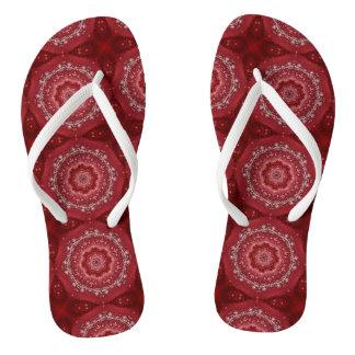 Chinelos Teste padrão vermelho e branco da mandala