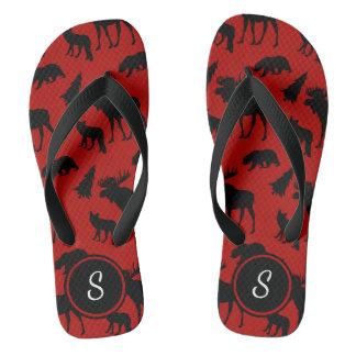 Chinelos Teste padrão vermelho e preto da floresta com