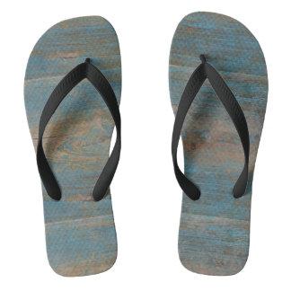 Chinelos Textura azul da madeira da praia do falso