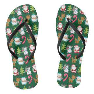 Chinelos Verde bonito do Natal em julho
