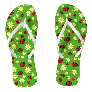 Chinelos verde bonito do teste padrão de flor do joaninha e