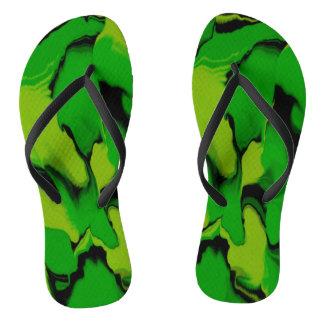 Chinelos Verde e preto ondulados