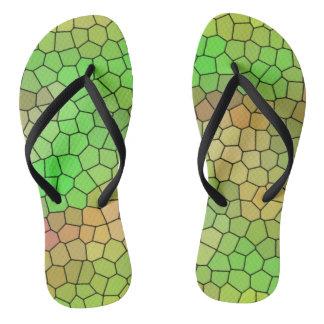 Chinelos verdes do design do vitral