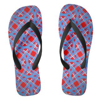 Chinelos Vermelho azul e branco do design de Jimette dos