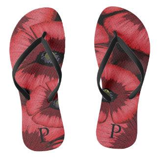 Chinelos vermelhos personalizados da papoila