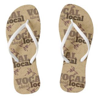 Chinelos Vocal sobre flip-flops locais de Brown