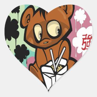 Chinês bonito dos desenhos animados do bebê do adesivo coração