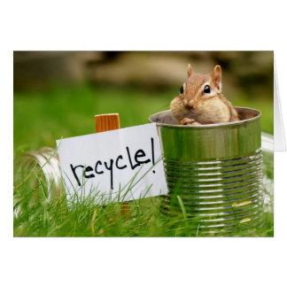 Chipmunk bonito do reciclagem cartão comemorativo
