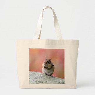 Chipmunk que senta-se verticalmente bolsa tote grande