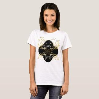 Chique feminino extravagante bonito do material da camiseta