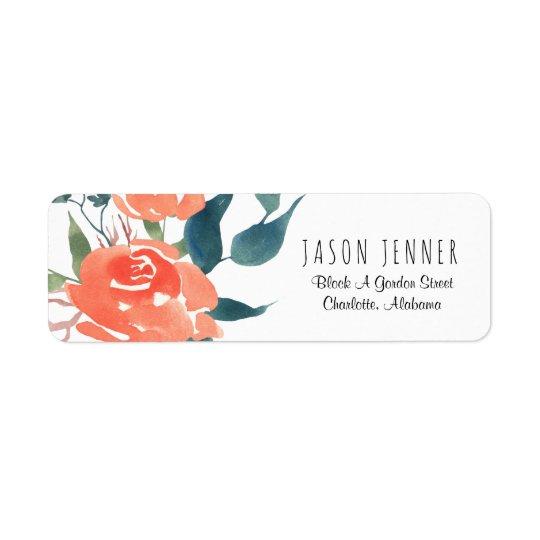 Chique floral do casamento da rosa vermelha da etiqueta endereço de retorno