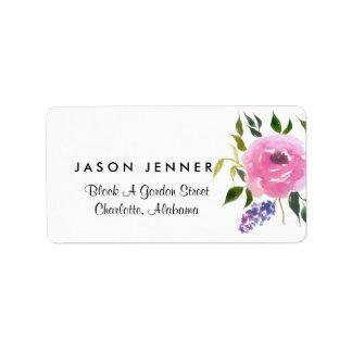 Chique floral do casamento do grupo da aguarela etiqueta de endereço