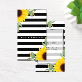 Chique floral dos girassóis de canto brancos cartão de visitas