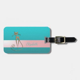 Chique moderno feminino, listras, gato etiqueta de bagagem