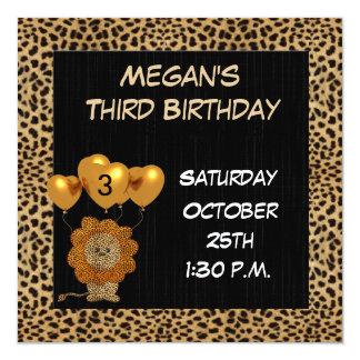 Chita do convite de festas do aniversário de 3 convite quadrado 13.35 x 13.35cm