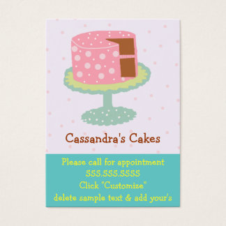 Chocolate cor-de-rosa e verde do bolo cartão de visitas