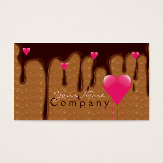 chocolate derretido com o cartão de visita
