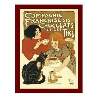 Chocolate francês da propaganda do vintage de cartão postal
