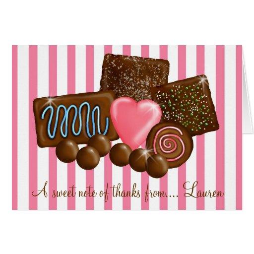 ChocolatesThank doce você cartões de nota