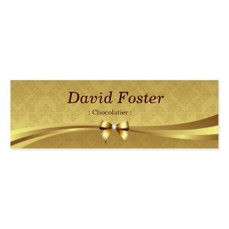 Chocolatier - damasco brilhante do ouro cartão de visita skinny