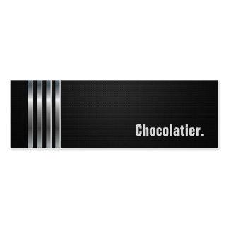 Chocolatier - listras de prata pretas modelos cartão de visita