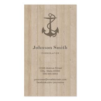 Chocolatier - madeira náutica da âncora cartões de visita