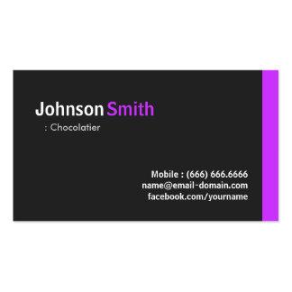 Chocolatier - roxo mínimo moderno modelos cartoes de visita
