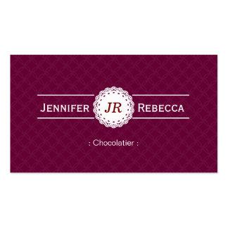 Chocolatier - roxo moderno do monograma cartão de visita