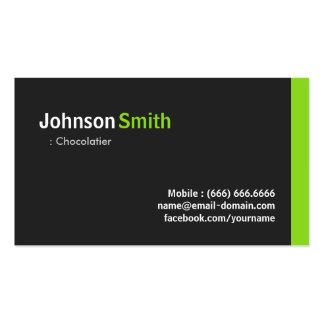 Chocolatier - verde minimalista moderno cartão de visita